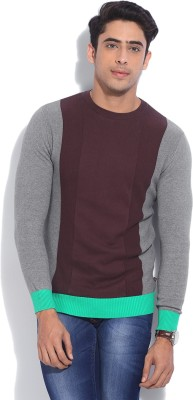 United Colors of Benetton Solid Round Neck Casual Men Grey, Maroon Sweater at flipkart