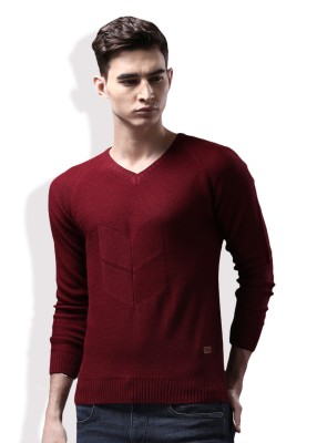 WROGN Self Design V-neck Casual Men Maroon Sweater at flipkart