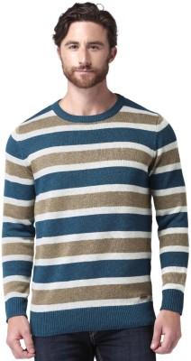 Mast & Harbour Self Design Round Neck Round Neck Casual Men Blue, Grey Sweater at flipkart
