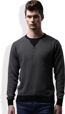 WROGN Self Design Round Neck Casual Men Black, White Sweater at flipkart
