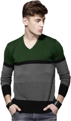 Roadster Self Design V-neck V-neck Casual Men Green, Grey Sweater at flipkart