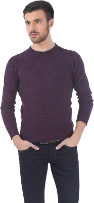 Basics Solid Round Neck Casual Men Red Sweater at flipkart
