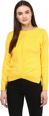 Miss Forever Solid Round Neck Casual Women Yellow Sweater