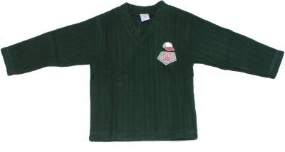 Babiano Solid Round Neck Girls Green Sweater