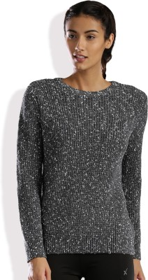 HRX by Hrithik Roshan Self Design Round Neck Casual Women Grey Sweater at flipkart