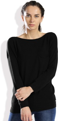 HRX by Hrithik Roshan Solid Round Neck Casual Women Black Sweater at flipkart