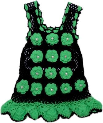 AV Embroidered Round Neck Casual Baby Girls Black, Green Sweater
