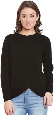 Street 9 Self Design Round Neck Casual Women Black Sweater at flipkart
