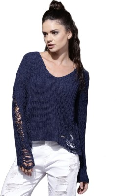 Roadster Self Design Scoop Neck Casual Women Blue Sweater at flipkart