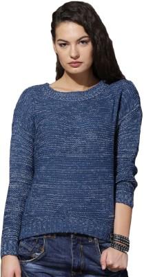 Roadster Self Design Round Neck Casual Women Blue Sweater at flipkart