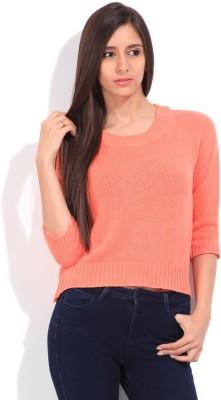 Lee Self Design Round Neck Casual Women Pink Sweater