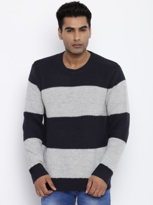 Roadster Solid Round Neck Round Neck Casual Men Grey, Dark Blue Sweater at flipkart
