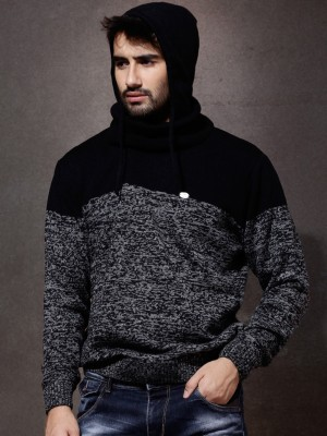 Roadster Self Design Turtle Neck Casual Men Black Sweater