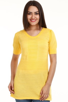 CLUB YORK Solid Round Neck Casual Women Yellow Sweater