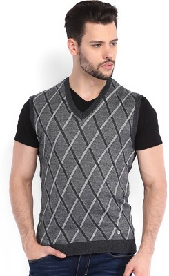 Arrow New York Self Design V-neck Casual Men Grey Sweater at flipkart