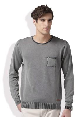 Mast & Harbour Solid Round Neck Round Neck Casual Men Grey Sweater at flipkart