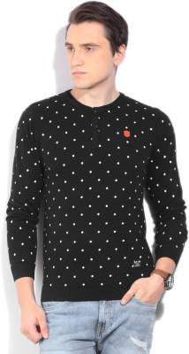 Killer Printed Round Neck Casual Men Black Sweater