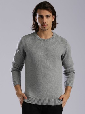 HRX by Hrithik Roshan Self Design Round Neck Round Neck Casual Men Grey Sweater at flipkart