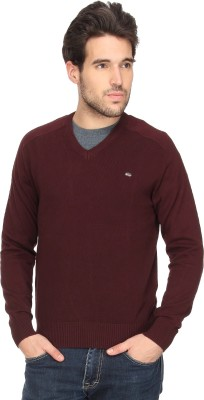 T-Base Solid V-neck Casual Men Maroon Sweater