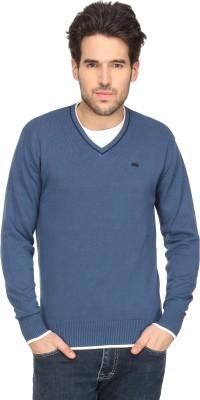 T-Base Solid V-neck Casual Men Blue Sweater