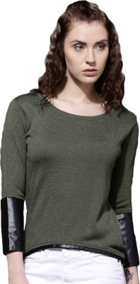 Roadster Self Design Round Neck Casual Women Green Sweater at flipkart