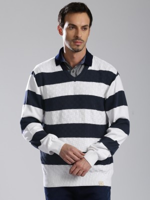 HRX by Hrithik Roshan Striped V-neck V-neck Casual Men Dark Blue, White Sweater at flipkart
