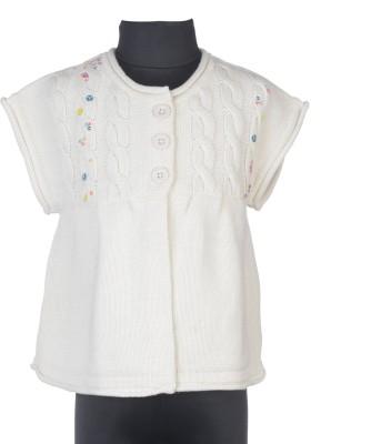 Addyvero Embroidered Round Neck Casual Girls White Sweater