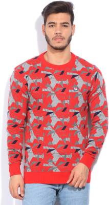 Fila Printed Round Neck Casual Men Grey, Red Sweater