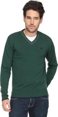 T-Base Solid V-neck Casual Men Dark Green Sweater
