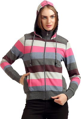 Moda Elementi Full Sleeve Striped Women Sweatshirt