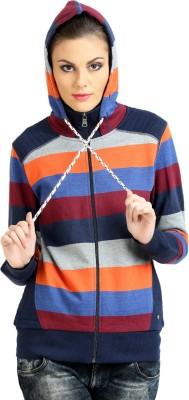 Moda Elementi Full Sleeve Striped Women Sweatshirt
