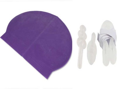 Futaba Nose and Ear Plugs Combo Swimming Cap(Purple, Pack of 1)