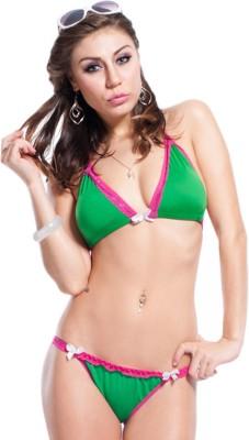 TIMI Lace Triangle Bikini Solid Women Swimsuit at flipkart