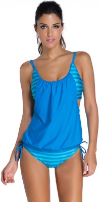N-Gal Layered-Style Striped Tankini with Triangular Brief Solid Women's Swimsuit
