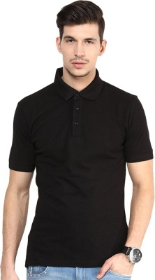 Go India Store Solid Men's Polo Neck Black T-Shirt