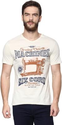 Celio Graphic Print Men's V-neck Beige T-Shirt at flipkart