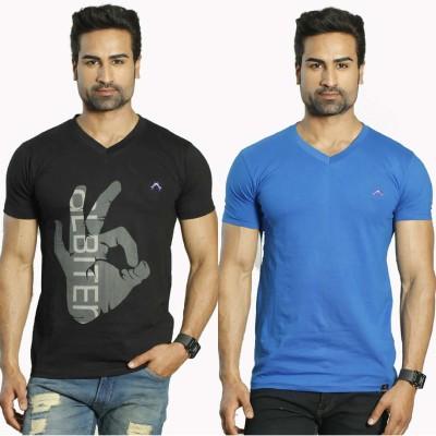 Albiten Solid Men's V-neck Black, Blue T-Shirt(Pack of 2)