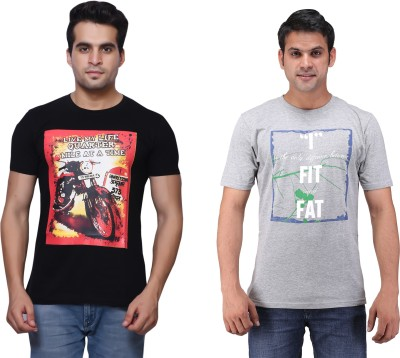 One Liner Printed Men's Round Neck Multicolor T-Shirt(Pack of 2)