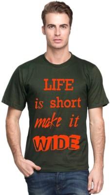 Cool Club Printed Men's Round Neck Dark Green T-Shirt