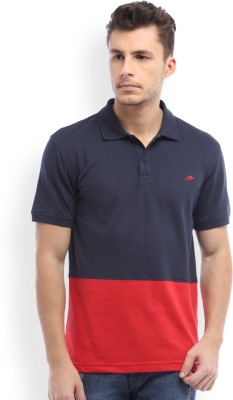 2GO Solid Men Polo Neck Blue, Red T-Shirt