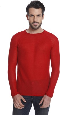 Jack & Jones Solid Men Round Neck Red T-Shirt at flipkart