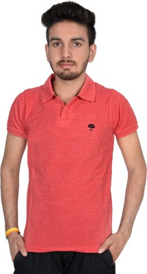 Magnus Solid Men's Polo Neck Red T-Shirt