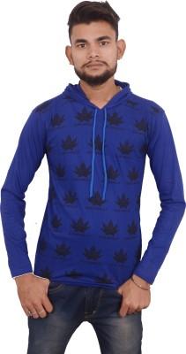 hero & piyush Printed Men Hooded Blue T-Shirt at flipkart