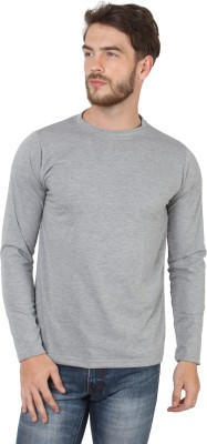 SayItLoud Solid Men Round or Crew Grey T Shirt