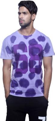 Masculino Latino Printed Men's Round Neck Reversible Purple T-Shirt
