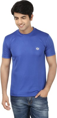French Circle Solid Men's Round Neck Blue T-Shirt