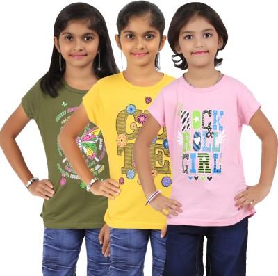 Bes-Tex Girls Printed T Shirt(Multicolor)