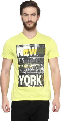 Celio Graphic Print Men's V-neck Yellow T-Shirt at flipkart