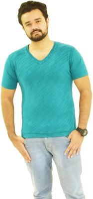 Oldberri Solid Men's V-neck Blue T-Shirt