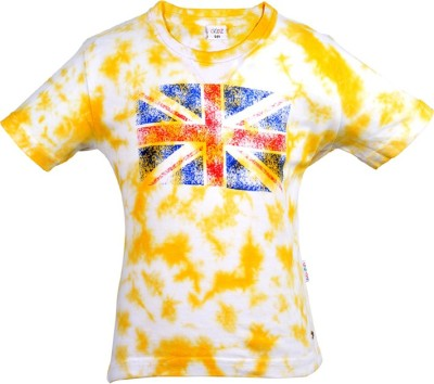 Gkidz Boys Printed Cotton Blend T Shirt(Yellow, Pack of 1) at flipkart
